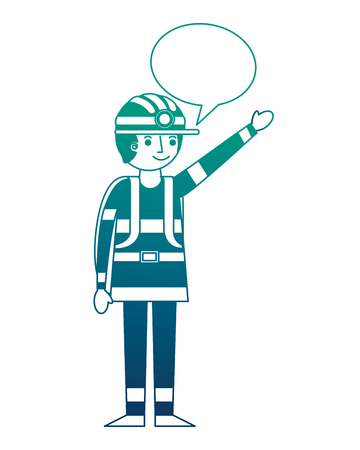 man miner in helmet and equipment speech bubble vector illustration gradient design Banco de Imagens - 114767092