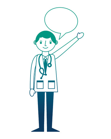 doctor professional with stethoscope in coat speech bubble vector illustration gradient design Stock fotó - 105299187