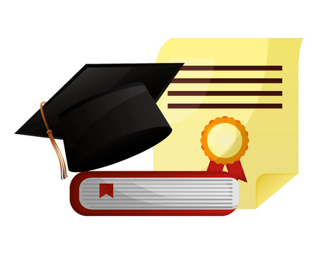 graduation hat book and certificate school vector illustration Illustration