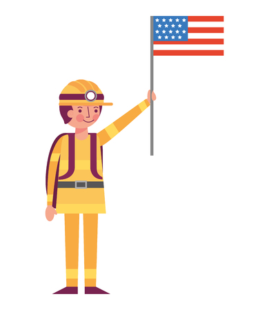 man miner in helmet holding american flag labor day vector illustration Stock Illustratie