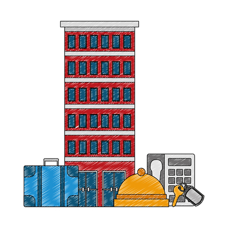 hotel building with suitcases vector illustration design 向量圖像