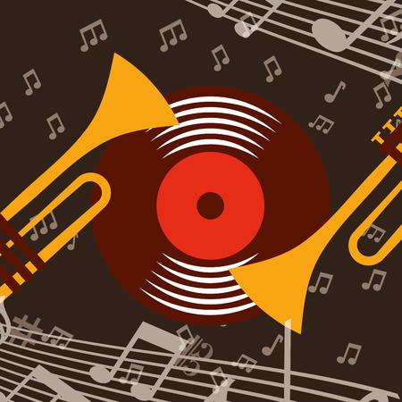 jazz festival trumpets disk music play background vector illustration  イラスト・ベクター素材