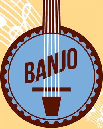 jazz festival instruments blue banjo music play figures vector illustration