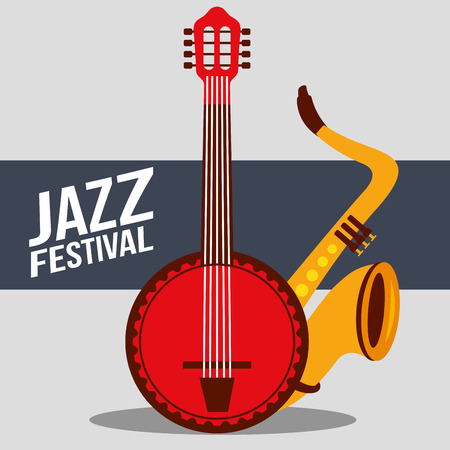 jazz festival instruments red banjo saxophone music play sign vector illustration Çizim