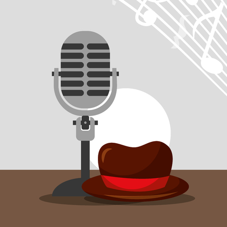 jazz festival instruments microphone hat man music notes vector illustration