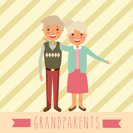 grandparents day happy old couple embraced colors clothe vector illustration Ilustrace