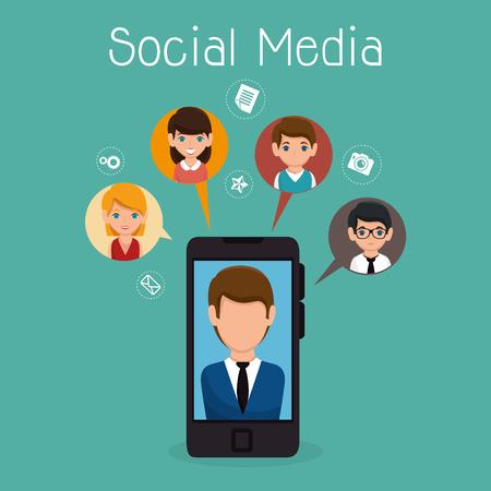 conception d'illustration vectorielle de personnages de communauté de médias sociaux