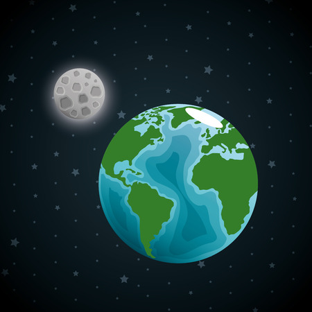 earth planet in the space vector illustration design