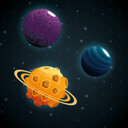 planets of the solar system scene vector illustration design Ilustracja