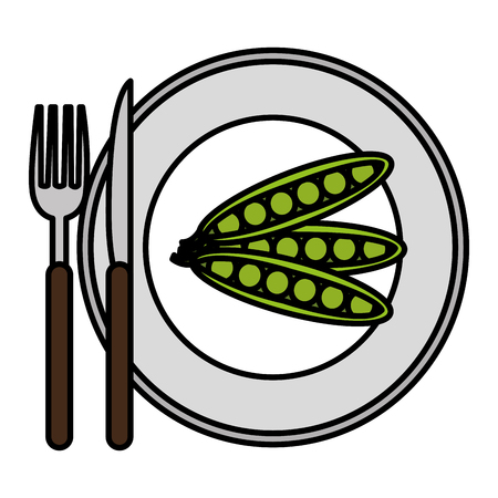 dish with fresh beans and cutleries vector illustration design