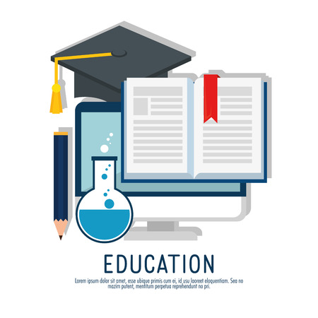 on line education with computer vector illustration design