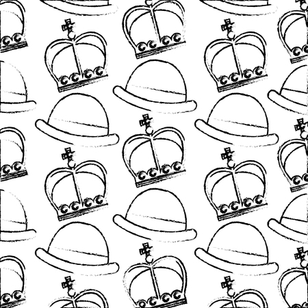 crown of king with gentleman hat pattern vector illustration design Иллюстрация