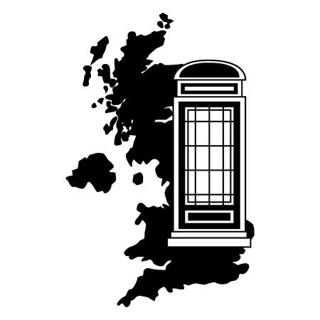 united kingdom map telephone booth vector illustration