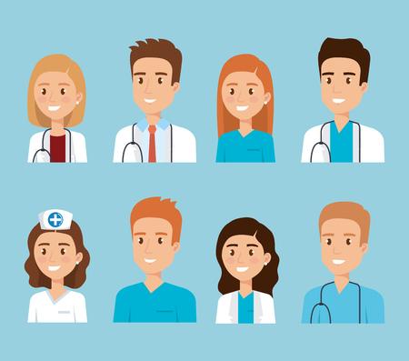 Diseño de ilustración de vector de personajes de personal médico de salud