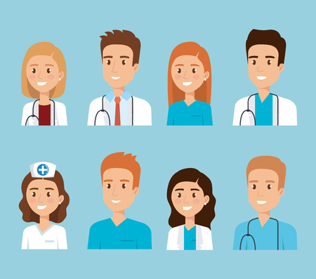 healthcare medical staff characters vector illustration design  イラスト・ベクター素材