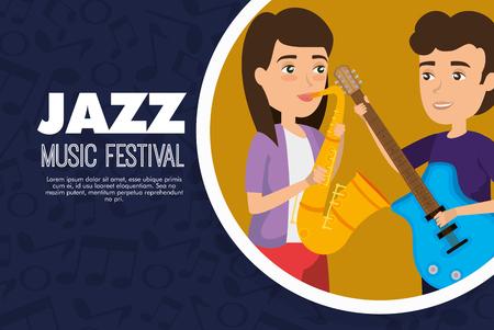 musician couple in concert vector illustration design Banque d'images - 114876857