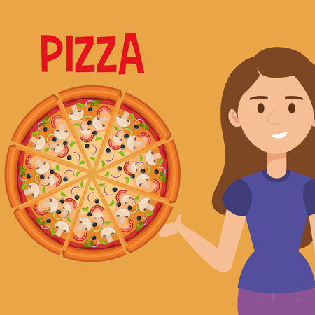 beautiful woman with italian pizza vector illustration design