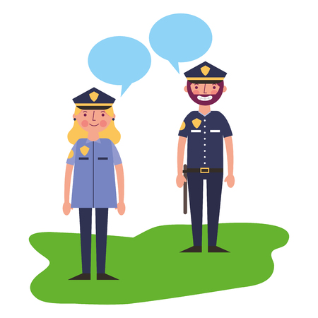 woman and man police officer talking vector illustration