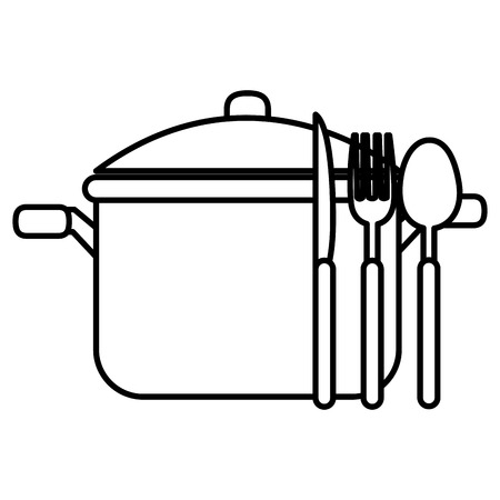 kitchen pot with cutleries vector illustration design Иллюстрация