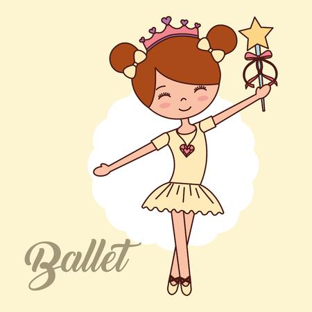 beautiful ballerina ballet girl smiling holding magic wand star label vector illustration