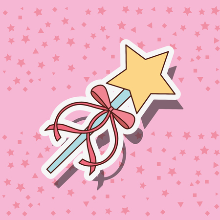 beautiful magic wand  star ballet stars pink background vector illustration