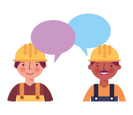 workers contruction portrait talking speech bubble vector illustration