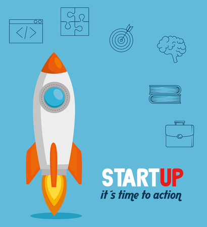 rocket with start up business icons vector illustration design