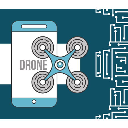drone technology futuristic smartphone device flying vector illustration