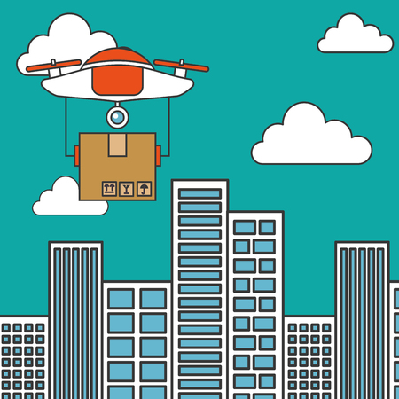 drone flying delivery cardboard box in the city technology futuristic Illustration