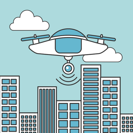 drone technology futuristic flying in the city
