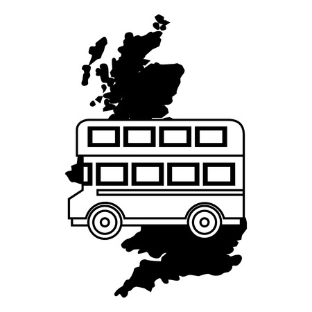 united kingdom map double deck bus vector illustration