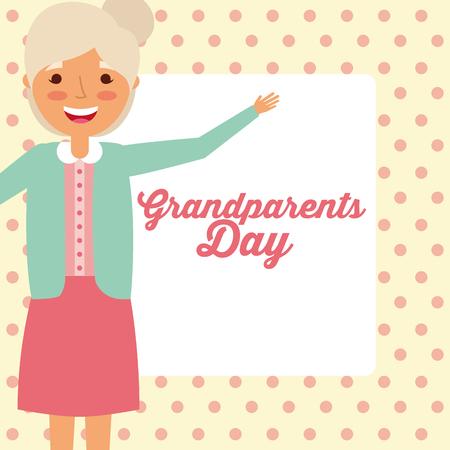 grandparents day old grandmother smiling hand up dotted background vector illustration