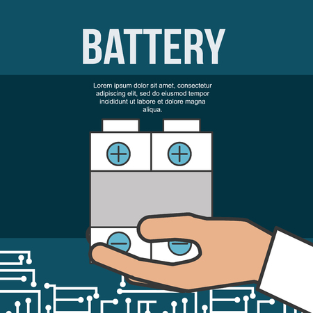 drone technology futuristic hand holding battery signs vector illustration