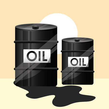 two barrel crude oil industry vector illustration