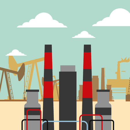 refinery plant pump chimneys oil industry vector illustration