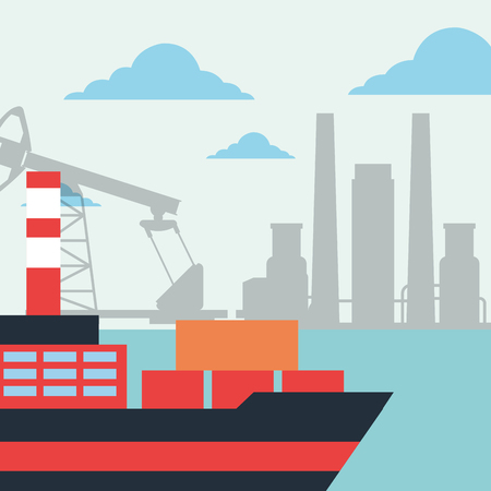 tanker ship transport refinery oil industry vector illustration