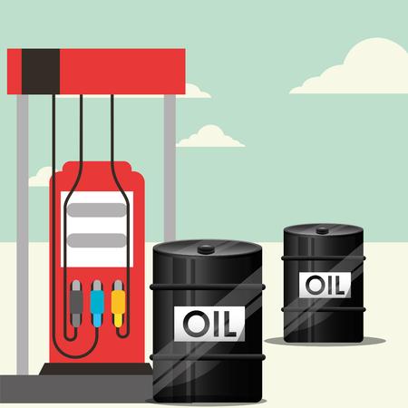 gas station and barrels transport oil industry vector illustration