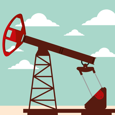 oil pump jack working industry vector illustration Illustration
