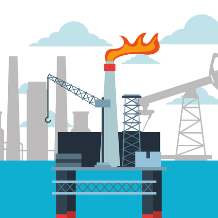 refinery plant and platform oil industry vector illustration Illustration
