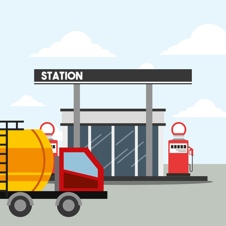 gas station pump and tanker truck transport oil industry vector illustration Illustration