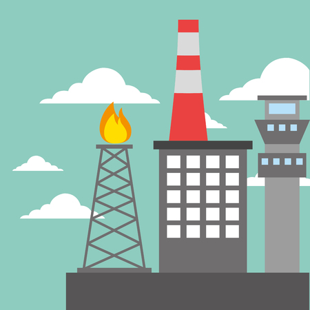 chemical plant refinery burning tower oil industry vector illustration