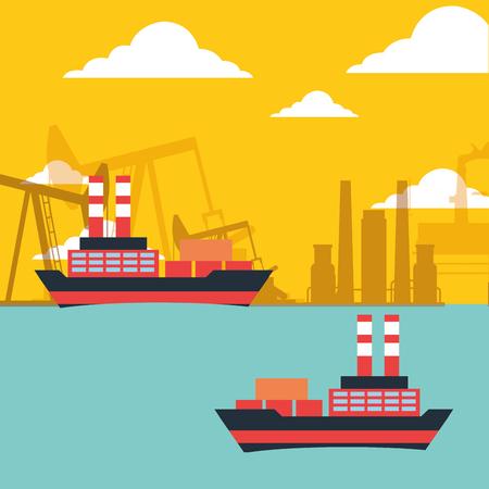 gas oil tanker ships transport chemical industry vector illustration