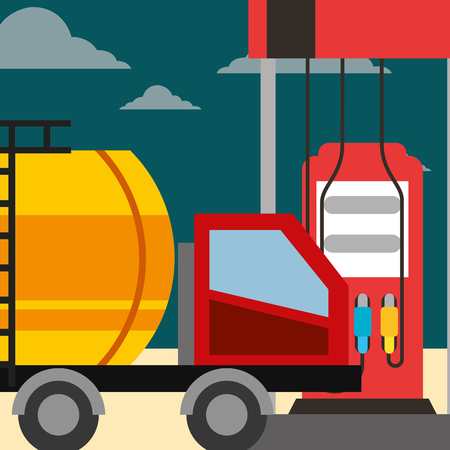 tanker truck gas station pump oil industry vector illustration Illustration