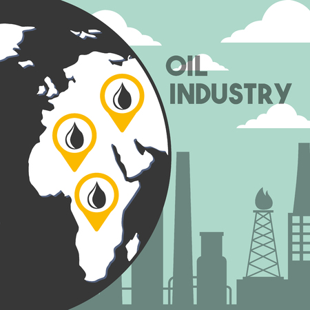 globe world refinery plant location oil industry vector illustration Illusztráció