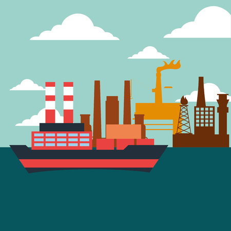 container and tanker ship factory oil industry vector illustration