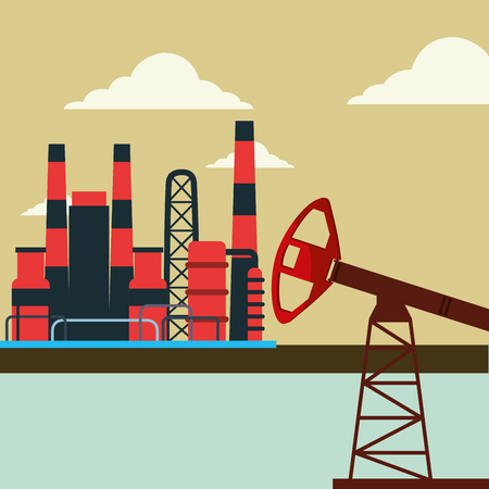 factory plant power gas pump oil industry vector illustration