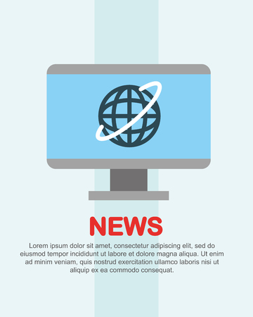 news communication computer screen world notices vector illustration Stock Illustratie