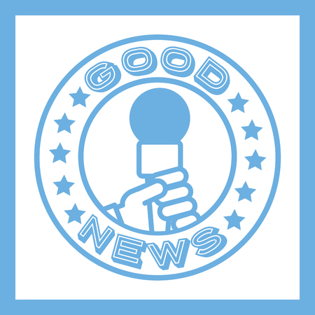 news communication blue sticker hand holding microphone vector illustration