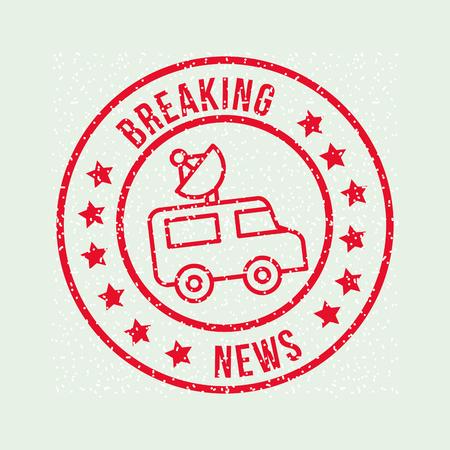 news communication breaking notices car antenna vector illustration