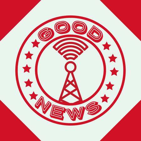 news communication tower antenna signal label vector illustration